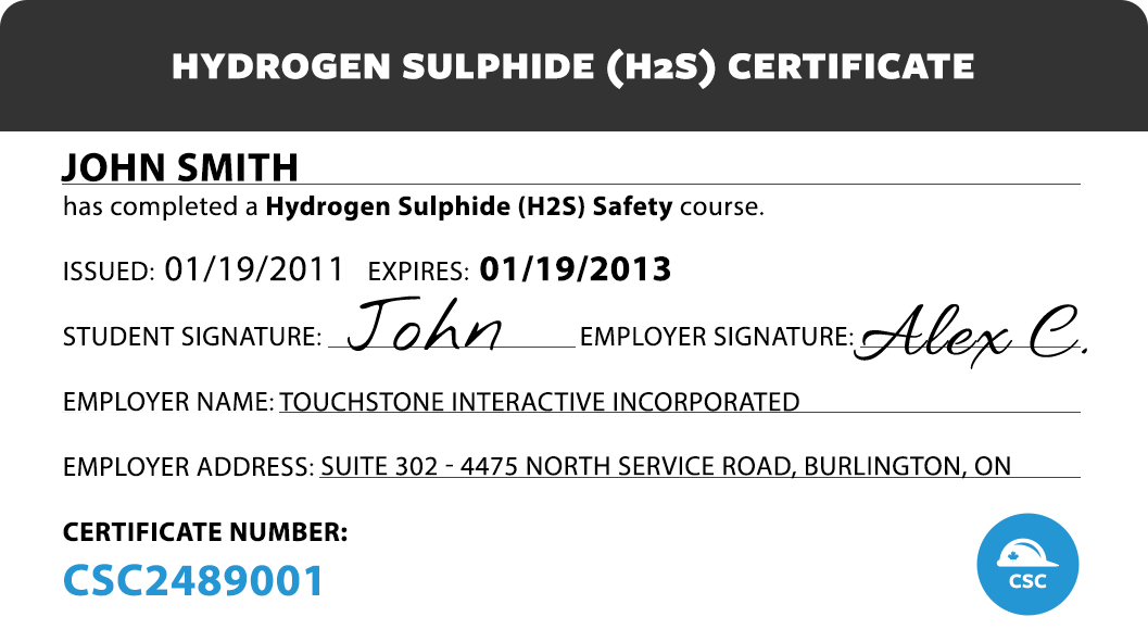 Canada Safety Compliance Hydrogen Sulfide (H2S) Safety