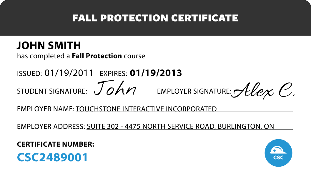 Canada safety compliance fall protection for H2s certification card template